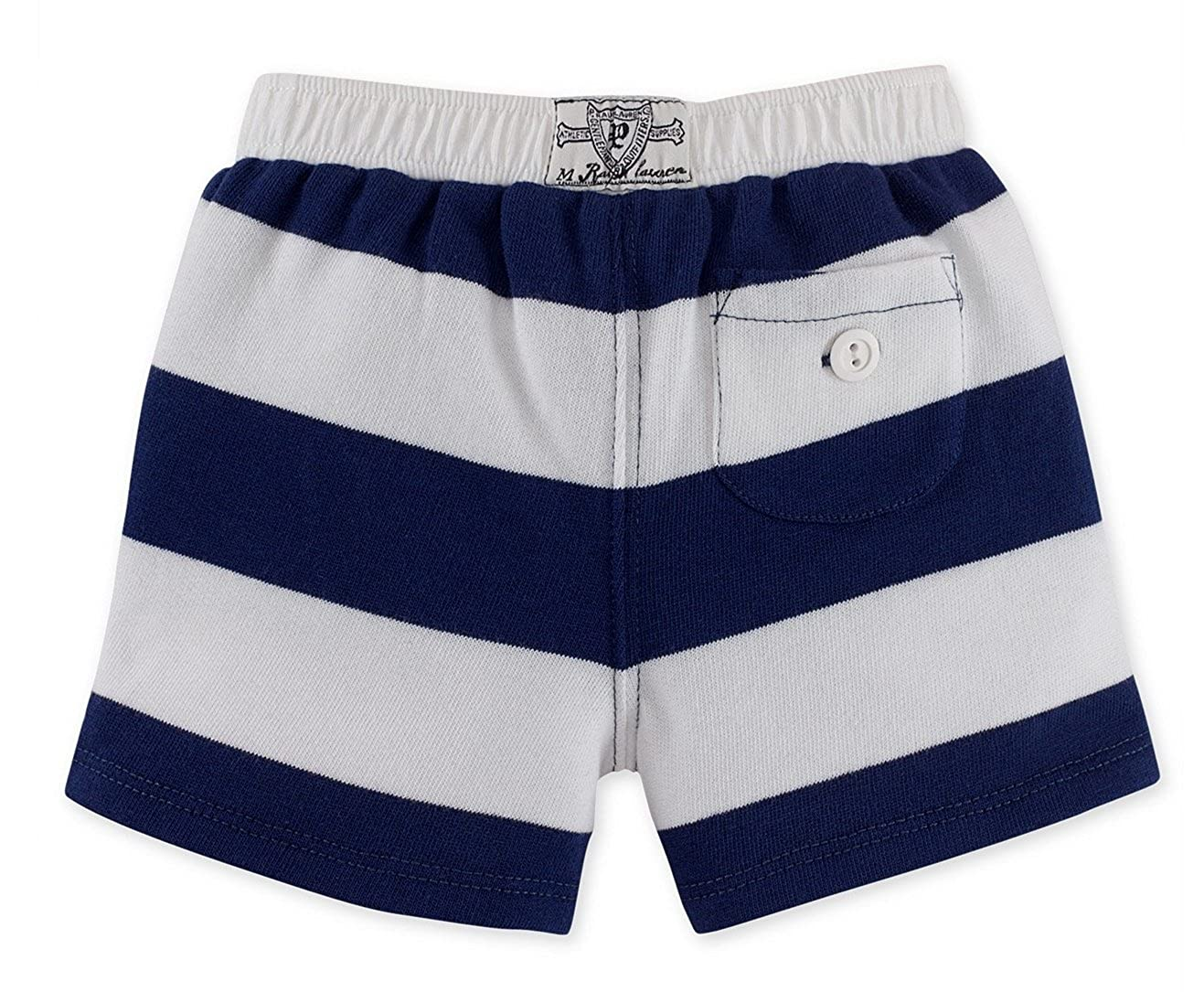 RALPH LAUREN Baby Girls Striped Terry Shorts Navy//White