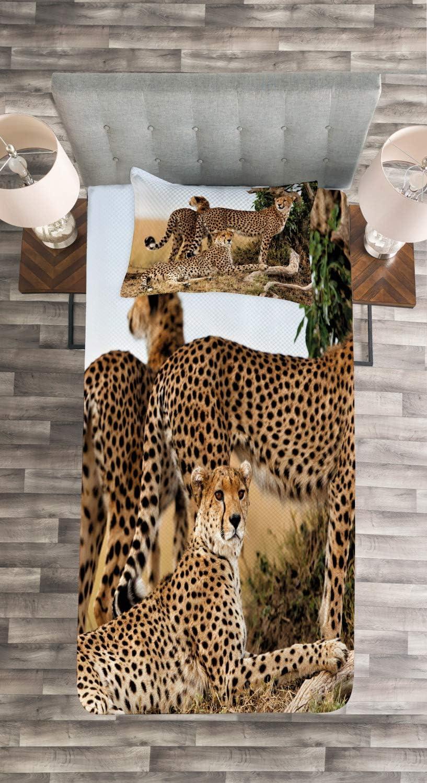 f/ür Einselbetten 170 x 220 cm Set mit Kissenbezug Romantischer Stil ABAKUHAUS Afrika Tagesdecke Set Schwarz Tan Safari-Tier Cheetahs