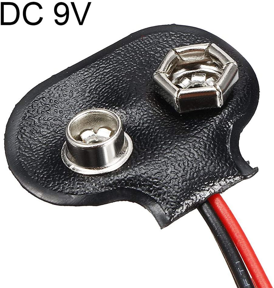 uxcell 3pcs DC 9V Battery Clip I-Type Buckle Connector Faux Leather Housing Lead Wire 14.5cm Length