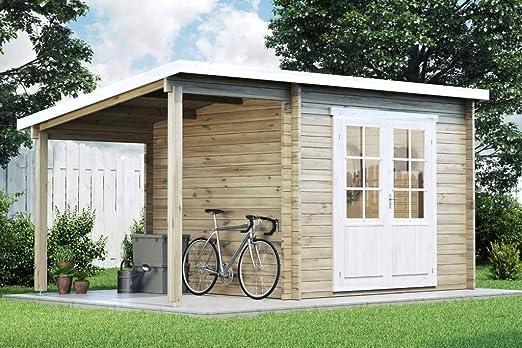 Carlsson Alpholz Maria - Caseta de jardín con techo de arrastre de madera maciza con 28 mm de grosor de pared, incluye material de montaje, dimensiones: 450 x 250 cm, tejado: Amazon.es: Jardín