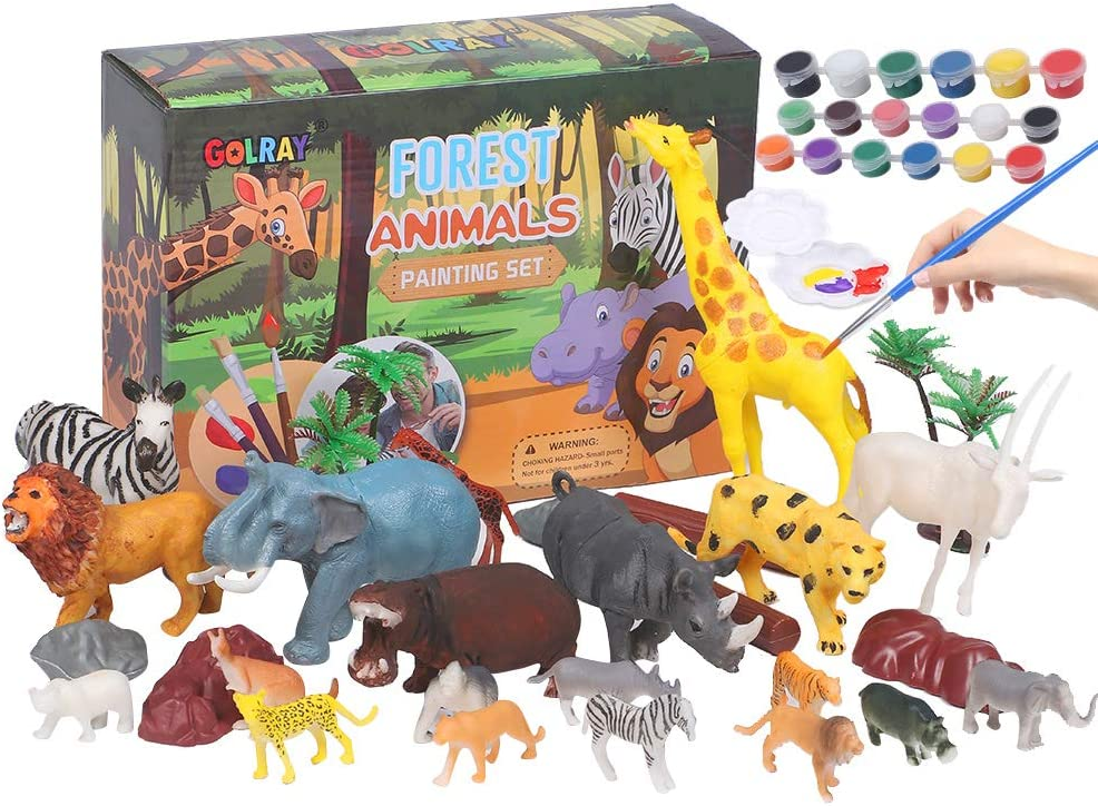 Animal Painting Kit for Kids Crafts and Arts Set, Jungle Animal Toy Art and Crafts for Boys Girls Age 4 5 6 7 8 Years Old, DIY Art Supplies Paint for Kid Activities Birthday Gift