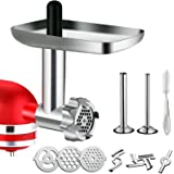 Metal Food Grinder Attachment for KitchenAid Stand Mixers, G-TING Meat Grinder Attachment Included 2 Sausage Stuffer…