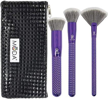 MODA Royal & Langnickel - Juego de brochas de maquillaje (4 unidades, incluye estuche), color morado metálico: Amazon.es: Belleza