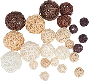 Garneck 24pcs Decorative Balls,Home Decor Accent Balls,Hand Knitting Vine Balls,Rattan Balls,Tree Hanging Balls Ornament Vase Filler Balls Spheres Orbs Filler