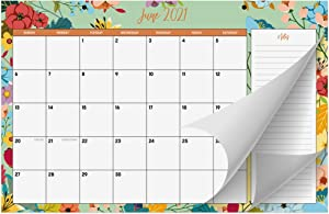 "Desk Calendar 2021 11"" x 17""- 18 Month Floral Desktop Wall Calendar Pad with Notes Section for Easy Planning - January 2021 - June 2022"