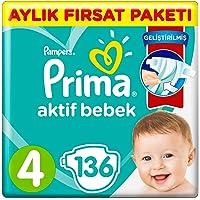 Prima Bebek Bezi Aktif Bebek 4 Beden Maxi, Aylık Fırsat Paketi, 136 Adet
