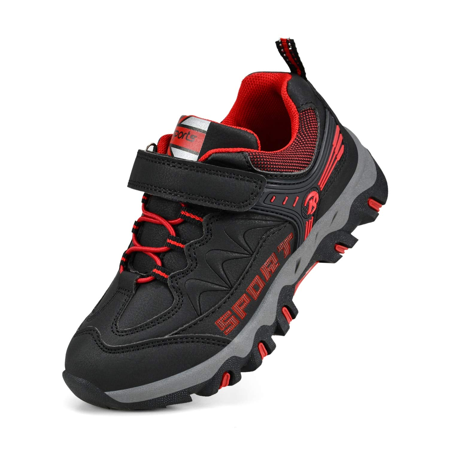 MARSVOVO BoysRunning Shoes Waterproof Outdoor Hiking Shoes Sneakers Black/Red 2 M US