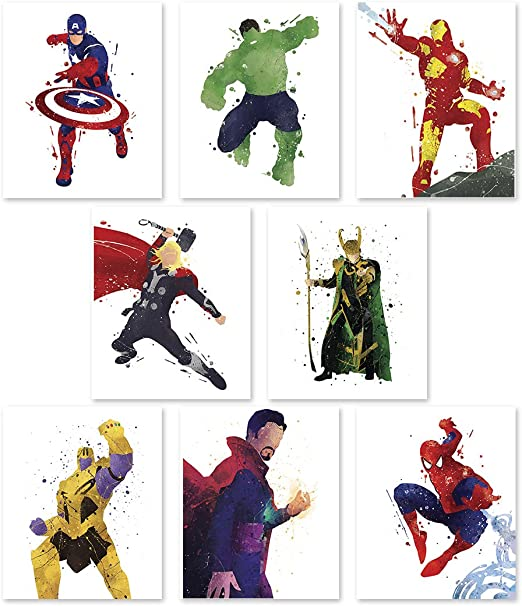 Super Heroes Pop Art Captain America Spider man Superman Poster  Cushion Cover