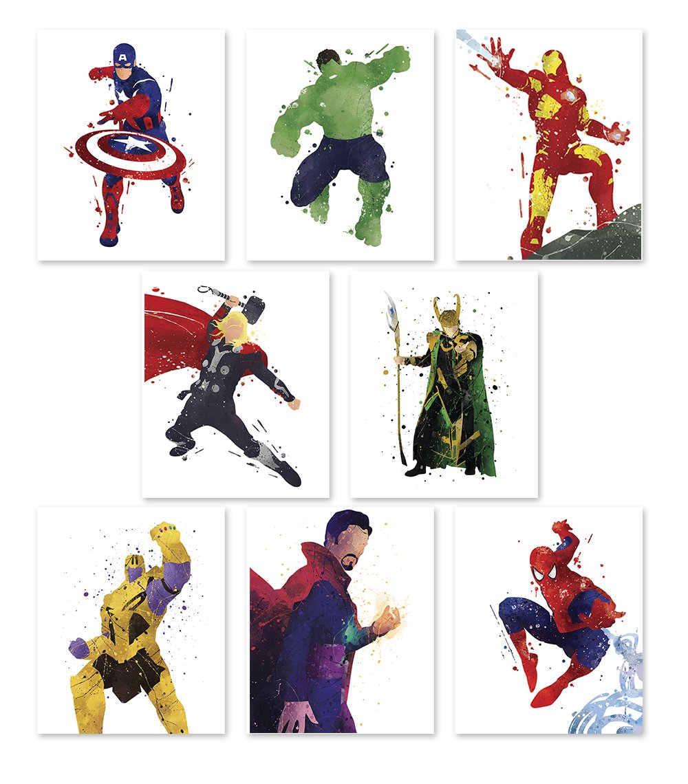 PGbureau Superhero Wall Poster- Avengers Infinity War Art Prints - Set of 8 - Hulk - Loki - Iron Man - Captain America - Thanos - Spiderman - Thor - Doctor Strange - Great Decor For Home - 8x10 by