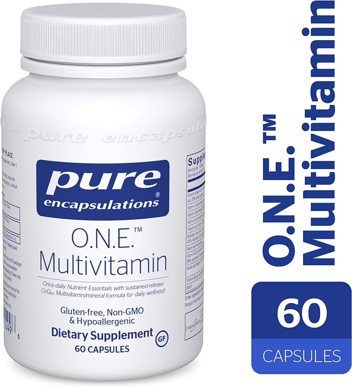 Pure Encapsulations – O.N.E. Multivitamin – Once Daily Nutrient Essentials with Metafolin L-5-MTHF and Sustained Release CoQ10 – Hypoallergenic Dietary Supplement – 60 Capsules