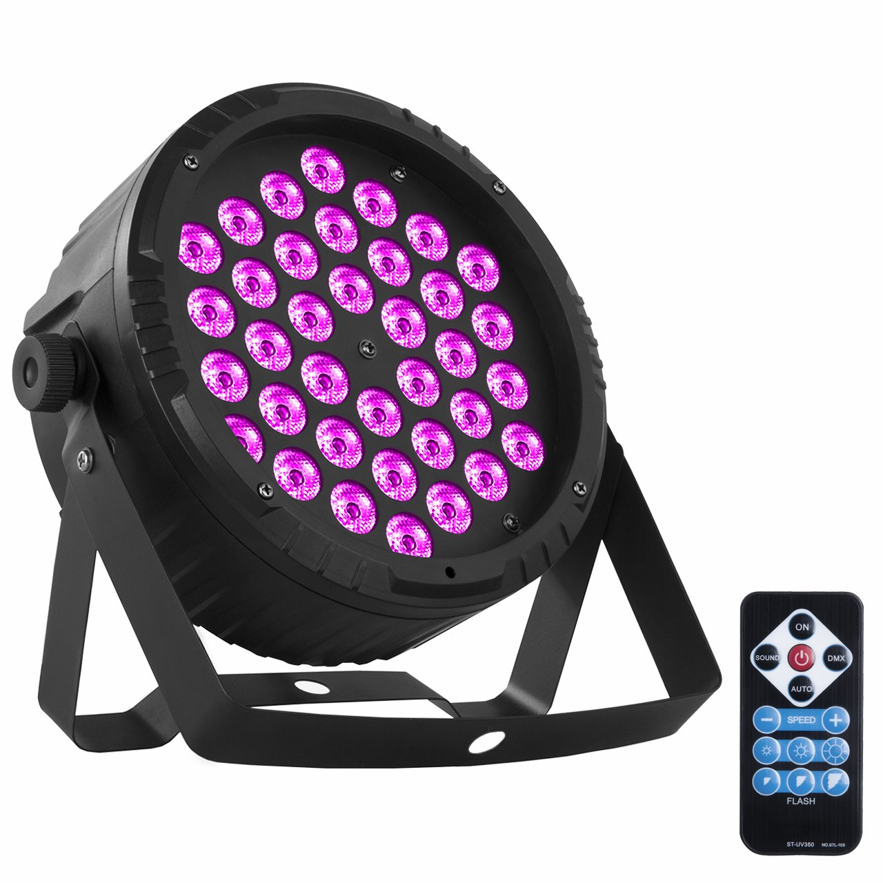 Eyourlife 36 X 1W LED Stage Lights Blacklight UV Light Par Lights Stage Lighting DMX Black Light DJ Lighting for Glow Party Wall Decor Neon Paint Dance Floor Disco Bar Concert