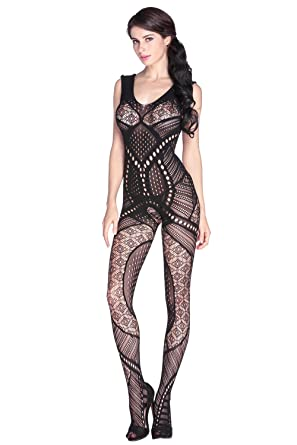912082ee157 TEZUKAFUJI Womens Sexy Hollow-Out Lingerie Open Crotch Seamless Bodystocking  Black Onesize