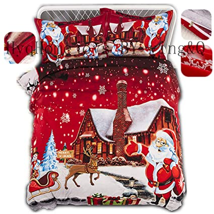 Twin Christmas Bedding Sets.Amazon Com Home4joys Merry Christmas Bedding Sets Red Xmas