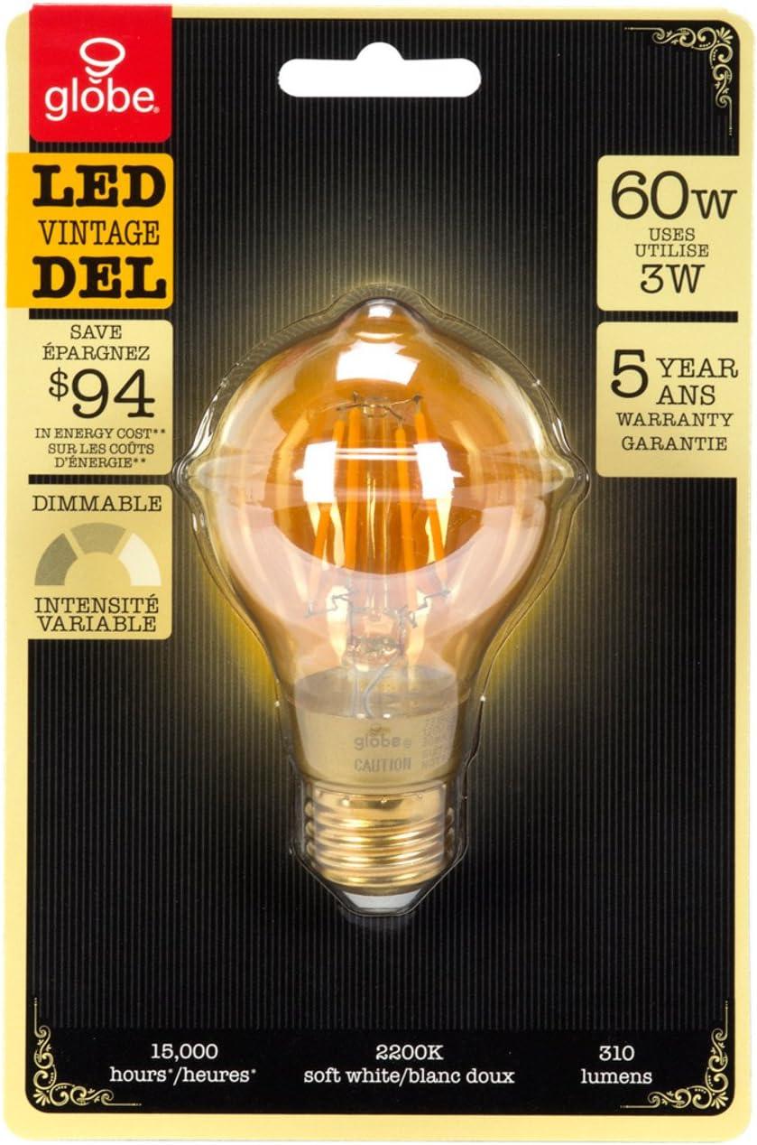3W 120V Globe Electric 73192 LED Vintage Bulb A19