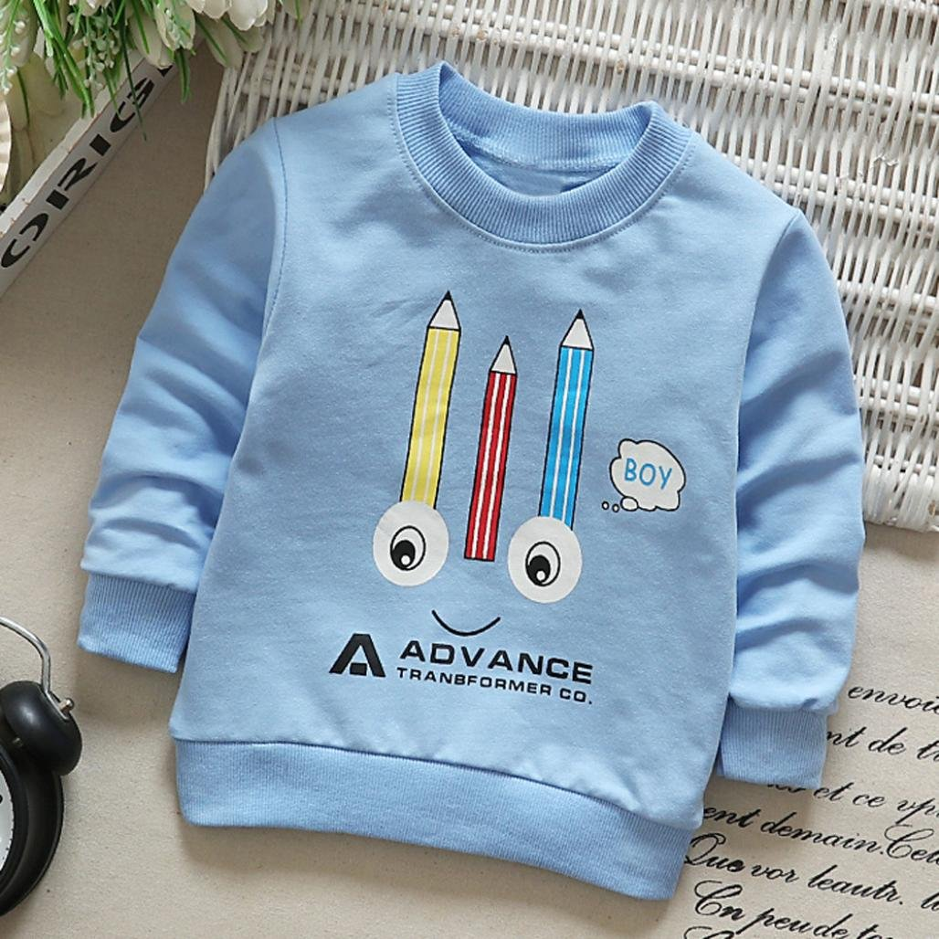 Fineser Baby Boys Girls Long Sleeve Cotton Soft Pullover T-Shirt Tops Spring Casual Clothes
