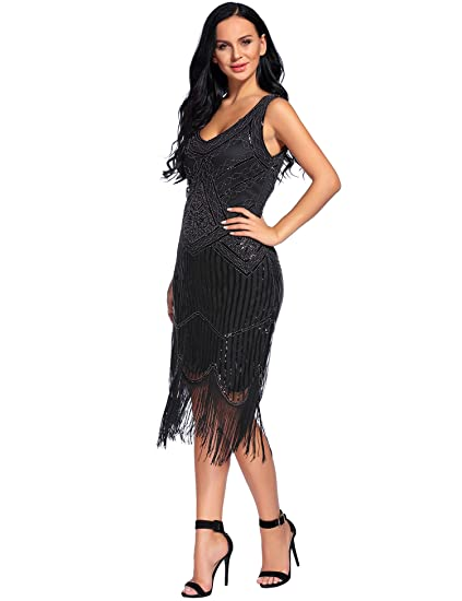 Flapper Girl Women's Vintage 1920s Sequin Beaded Tassels Hem Flapper Dress