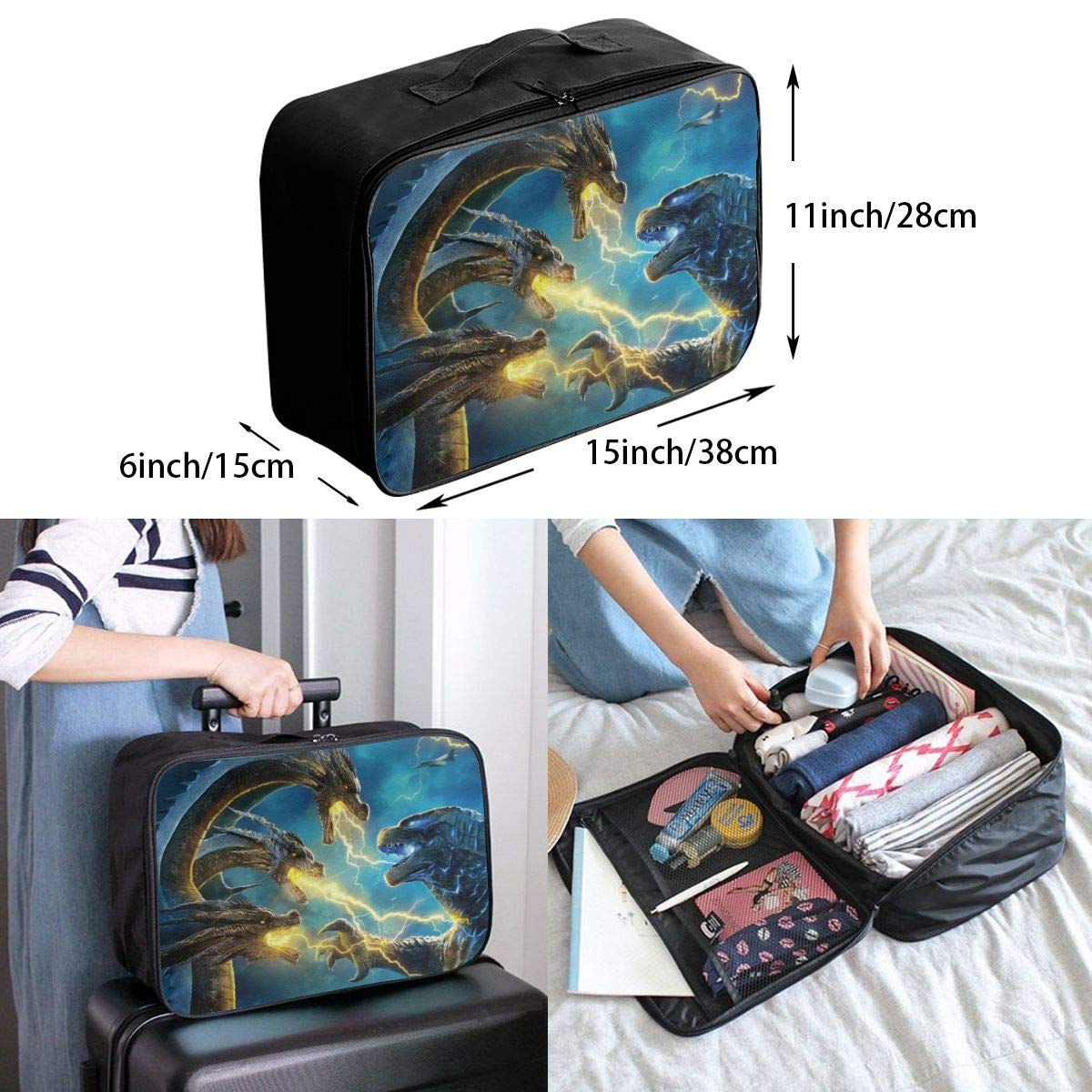 Cheny King God-Zilla Ghidorah Travel Duffel Bag Lightweight Waterproof Large Capacity Portable Luggage Bag