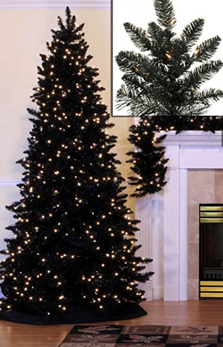 Amazon Com Vickerman Pre Lit Slim Black Ashley Spruce Artificial  - Vickerman Pre Lit Christmas Trees