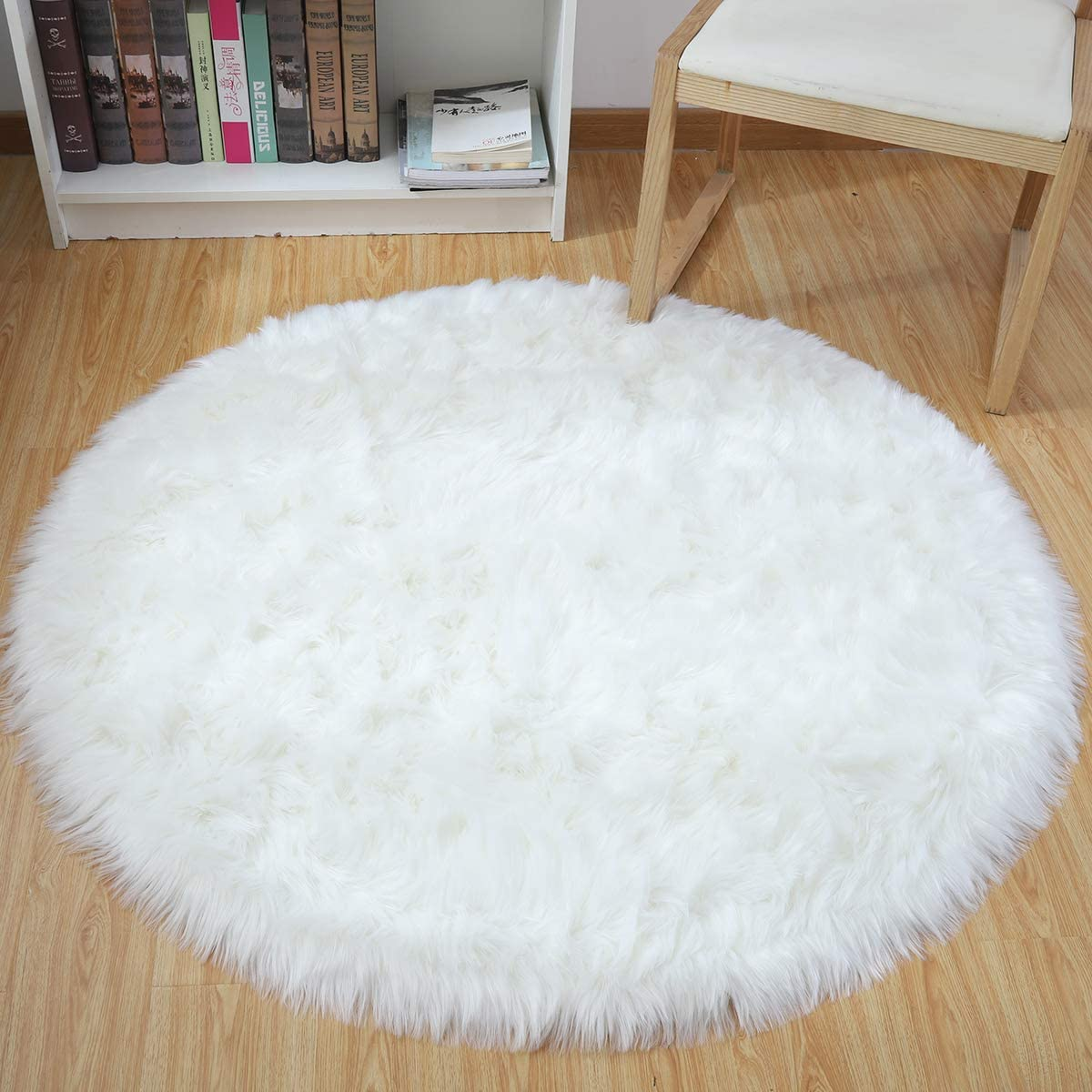 Noahas Faux Sheepskin Area Rugs Silky Long Wool Carpet for Living Room Bedroom, Children Play Dormitory Home Decor Rug, 4 Feet, White