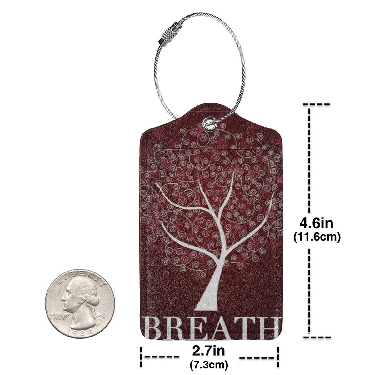 Breath Tree Branch Leaves Flowers Leather Luggage Tags Personalized Address Card With Privacy Flap