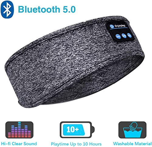Sleep Headphones Bluetooth Headband,Upgrage Soft Sleeping Wireless Music Sport Headbands, Long Time Play Sleeping Headsets with Built in Speakers Perfect for Workout, Running, Yoga Gray