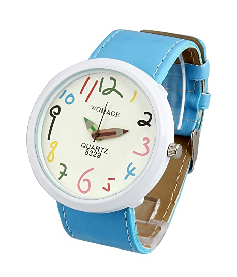 ShoppeWatch Ladies Wrist Watch Large Face Unisex Blue Leather Band White Dial Reloj para Dama SW8329BLWH
