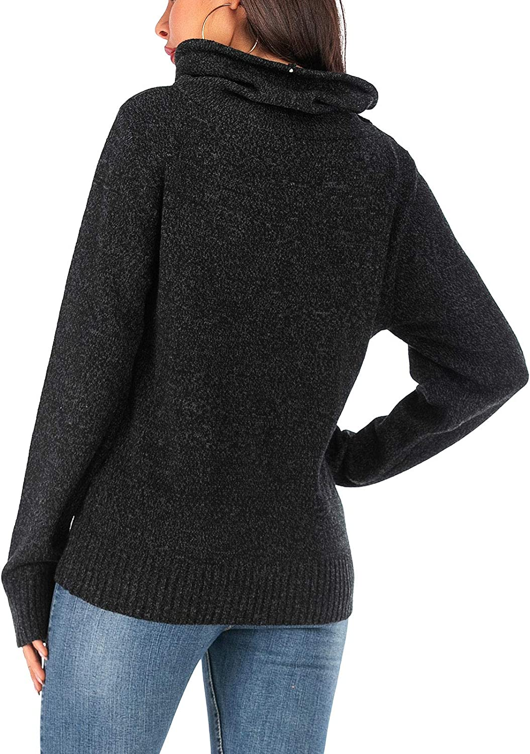 Les umes Womens Casual Knitted Turtleneck Sweaters Jumpers Long Sleeve Pullover Tops with Drawstring