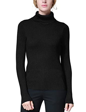 Rocorose Women's Solid Basic Long Sleeve Turtleneck Sweater ...