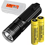 Nitecore SRT9 2150 Lumen Multi-LED Smartring Tactical Flashlight (White, Red, Blue, Green, & UV) PLUS 2x 3500mAh High-Drain 18650 Rechargeable Batteries & LumenTac Battery Organizer