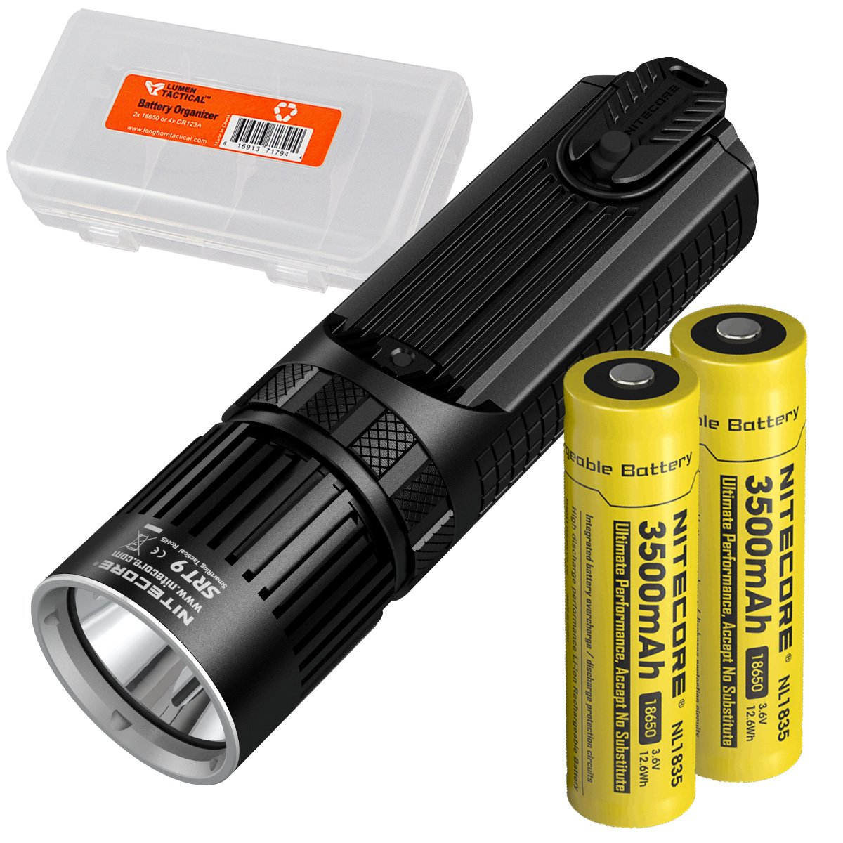 Nitecore SRT9 2150 Lumen Multi-LED Smartring Tactical Flashlight (White, Red, Blue, Green, & UV) PLUS 2x 3500mAh High-Drain 18650 Rechargeable Batteries & LumenTac Battery Organizer by Nitecore