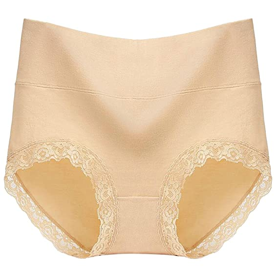 6dd573a6bfc BYWX Women Underwear Tummy Control Lace Trim Cotton High Rise Brief Panty  Apricot US S