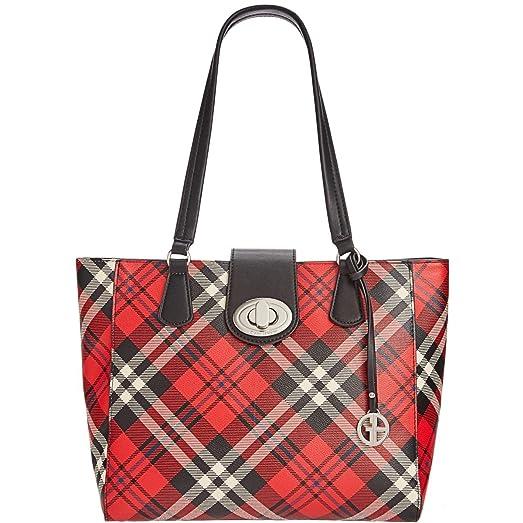 Womens Faux Leather Pattern Tote Handbag Red Large Giani Bernini Zj9Vuq0B44