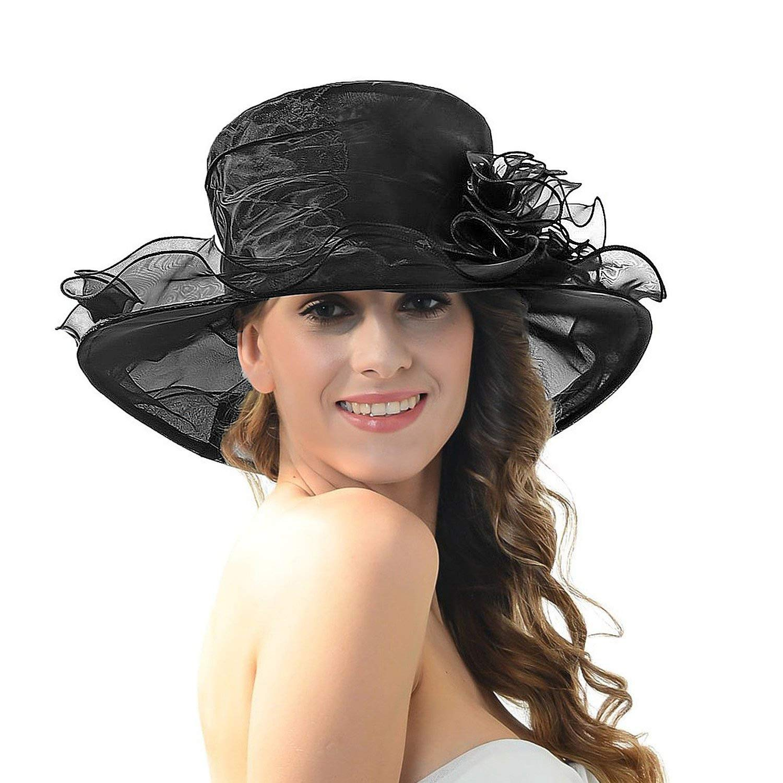 5eab46e5a Discoball Women's Sun Hat - Floral Organza Flat Large Wide Brim Gauze  Kentucky Derby Cap - Folding Sun Summer Hat for Church Kentucky Derby  Wedding ...