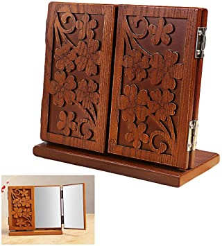 Tabletop Makeup Mirror,HOYOFO Tri Fold Wooden Carving Standing Dressing  Table Fodling Mirror