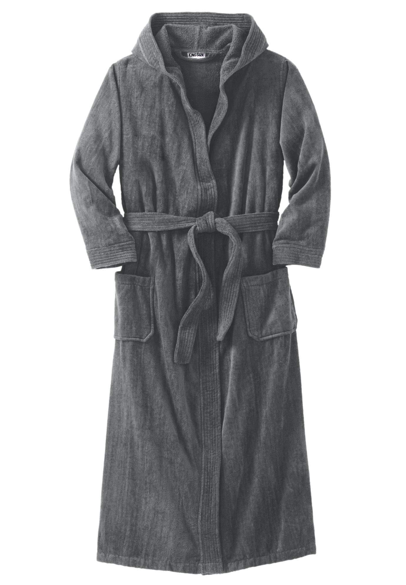 KingSize Men's Big & Tall Terry Velour Hooded Maxi Robe, Steel Big-5Xl/6X
