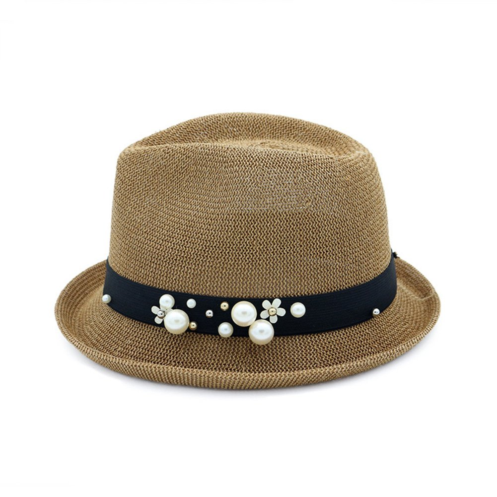 ShiningLove Flat-top Fedoras Sunshade Straw Hat with Curled Edge Pearl Jazz Cap for Beach Travel Holidays