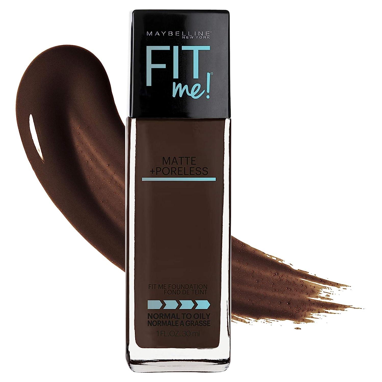 Maybelline Fit Me Matte + Poreless Liquid Foundation Makeup, Espresso, 1 fl. oz. Oil-Free Foundation