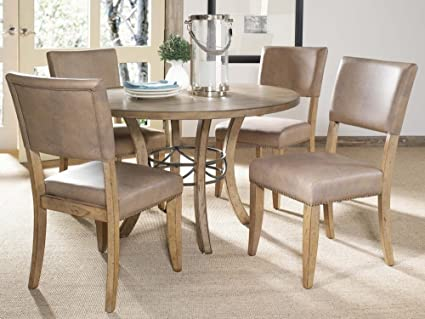Bon Hillsdale Charleston 5 Piece Round Wood Dining Set With Parson Chairs