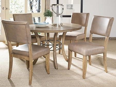 Hillsdale Furniture Charleston 5-Piece Round Wood Base Dining Set w Parson Chair Desert tan
