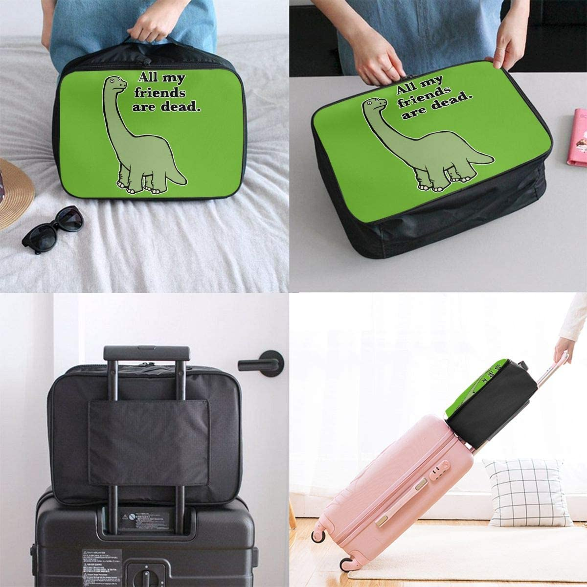 All My Friends Are Dead Dinosaur Carry Lightweight Large Capacity Portable Hiking Luggage Trolley Bag