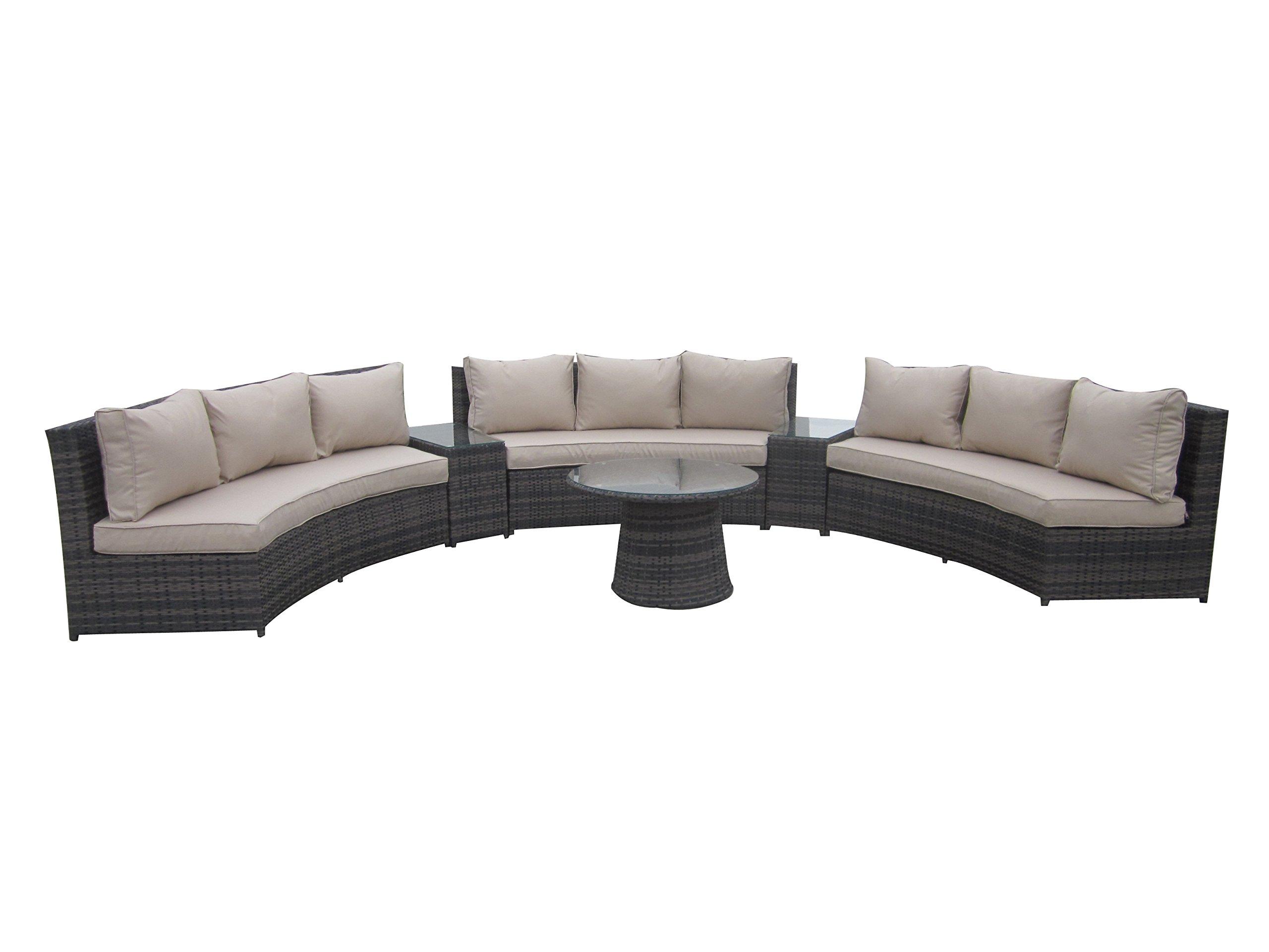 PATIOPTION 6 Piece Conversation Set,Half Moon Rattan Sofa Set - Taupe -  - patio-furniture, patio, conversation-sets - 71B2CTVmfNL -