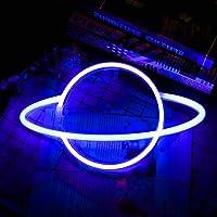 Planet Neon Signs LED Nachtlampje, Whuooad Blauw LED Neon Sign Muur Decor USB Opladen of Batterij Operated Neon Lights…