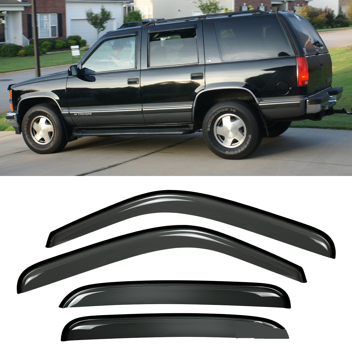 Viksee 4pcs Outside Mount Style Sun Rain Guard Vent 2006 Suzuki Aerio Sx Wagon Stereo Wiring Diagram Read Out Shade Window Visors 94304 For 00 06 Tahoe Escalade Basenot Fit Esv Ext Automotive