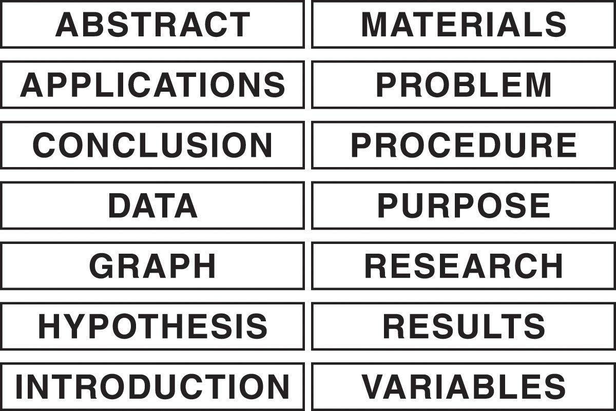 Pacon Self-Adhesive Presentation Science Subtitles, 14 Titles,  1-1/2'' x 8-1/2'' (3764)