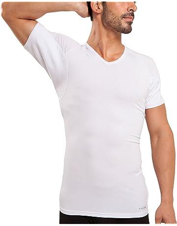 0356ebcae Ejis Sweat Proof Undershirts Men w/Sweat Pads & Real Silver, Micro Modal V