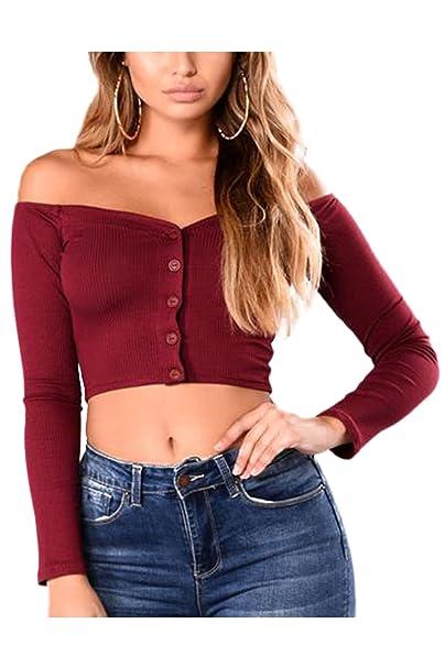 Jumojufol Off - Hombro Mujeres Solo Pecho Elastico Crop Top Blusa T Shirt: Amazon.es: Ropa y accesorios