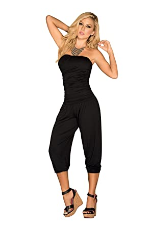 a9c8992dcf2 Amazon.com  Mapalé by AM PM Women s Strapless Casual Ruched Capri Fashion  Jumpsuit  Clothing
