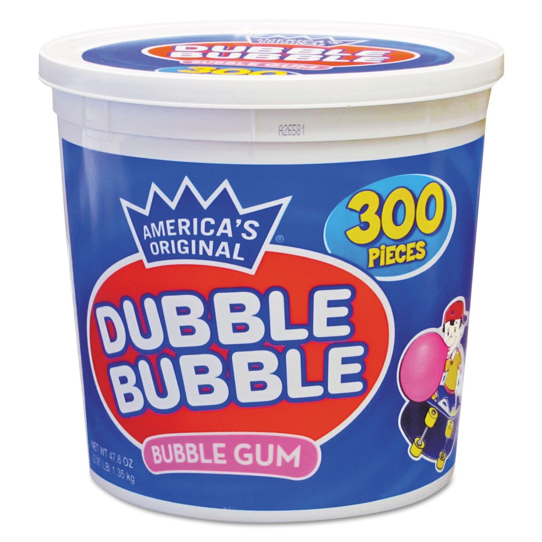 Dubble Bubble 16403 Bubble Gum, Original Pink, 300/Tub