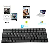 Rii i9 Bluetooth 3.0 Ultra Slim Wireless Rechargable Keyboard With Stainless Stand Cover For iOS/Android and Windows PC/Laptop/Notebook/MacBook/Samsung Galaxy Tablet/iPhone/iPad/Microsoft Surface