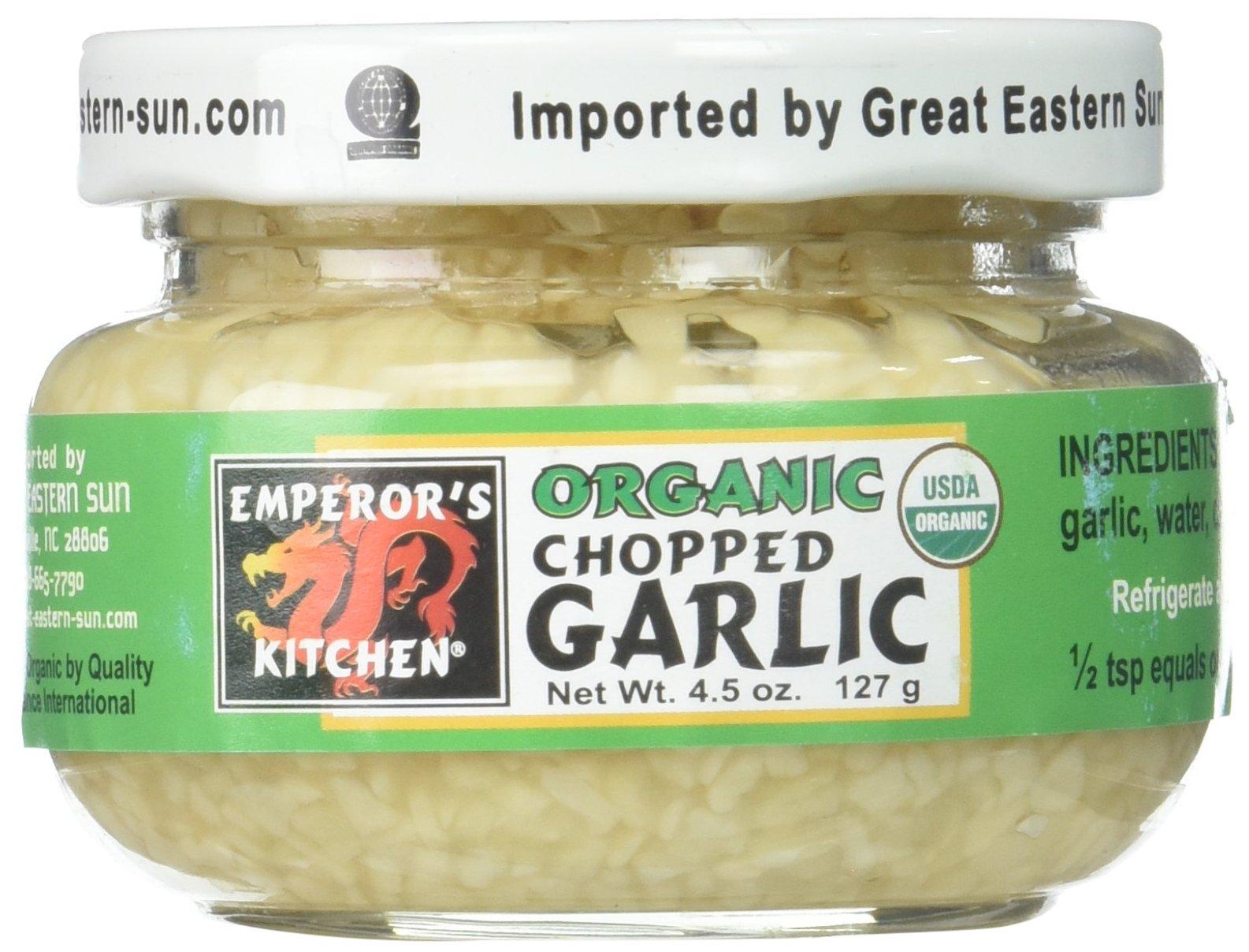 Emperors Kitchen Organic Chopped Garlic, 4.5 Ounce -- 12 per case.